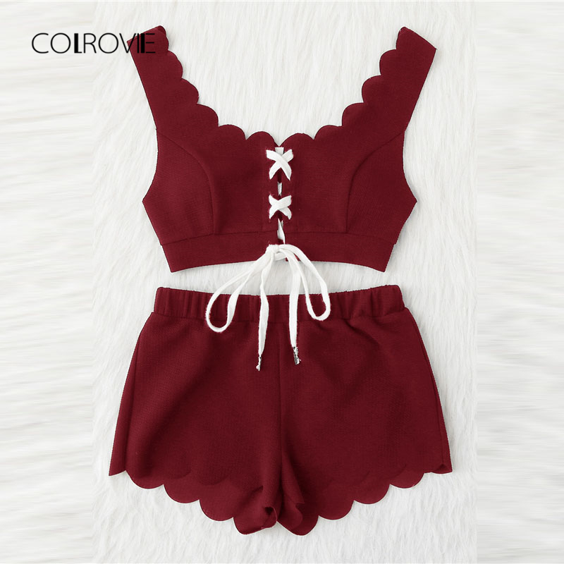 COLROVIE Lace Up Front Scalloped Trim Crop Top And Shorts PJ Set Summer Scoop Neck Sleeveless Pajama Set Casual Sleepwear