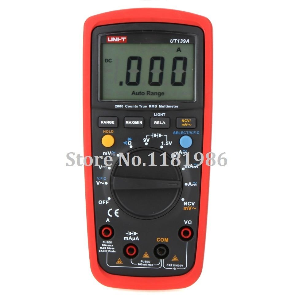 UNI T UT139A True RMS Auto Range Digital Multimeter for AC DC Current Voltage Ohm Tester