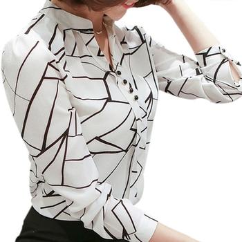 Women Chiffon Blouse Shirt 2019 Female Clothing Long Sleeve Blusas Chiffon Women's Office Blouses Print Striped Dot Lady OL Top
