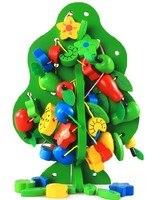Drewniane Owoce Ozdoba Prezent Zielone Drzewo Gwintowania Sznurka Koraliki Budynku i Grać Bloków Zabawki Dla Dzieci