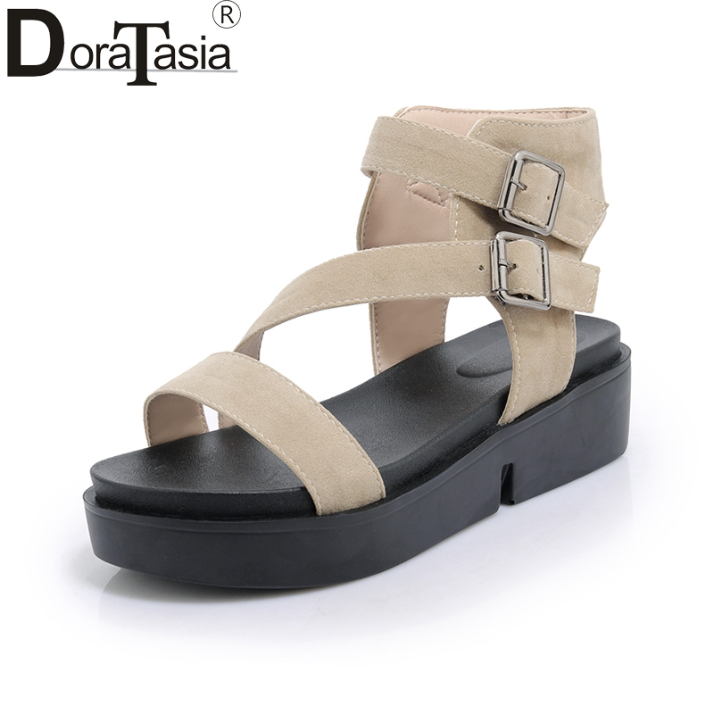 DoraTasia Summer Soft Plus Size 30-44 Ankle Strap Sandals Thick Platform Shoes Woman Casual Beach Holiday Women Shoes phyanic 2017 summer new women sandals with chain women buckle strap flat platform summer casual shoes woman phy3413