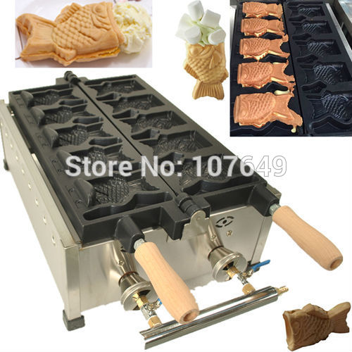 Hot Sale 5pcs Fish Commercial Use Non-stick LPG Gas Ice Cream Taiyaki Machine hot sale cayler