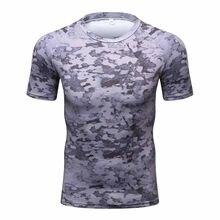 bd7e8067d5 Camisa de compressão Camuflagem Camisa de Manga Curta dos homens de Fitness  Calças Justas Musculação Crossfit