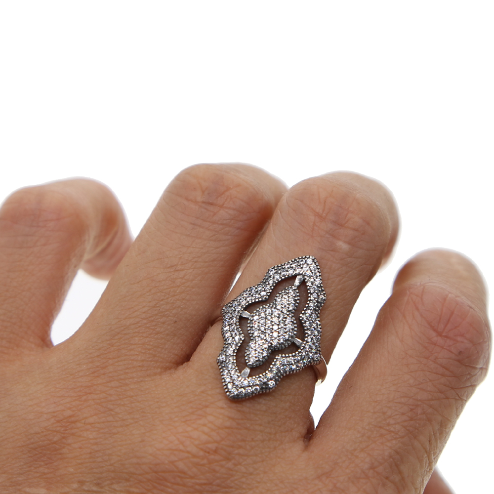 sparking bling long finger ring for lady vintage antique design oxidized silver jewelry 925 cz european big rings for women