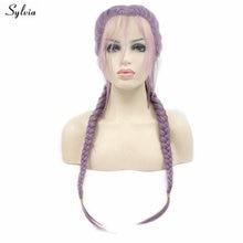 Sylvia микс Фиолетовый Лаванда Фиолетовый 2x твист косы парик Длинные Синтетические волосы ручной работы двойной плетеный кружевной передний парики с детскими волосами