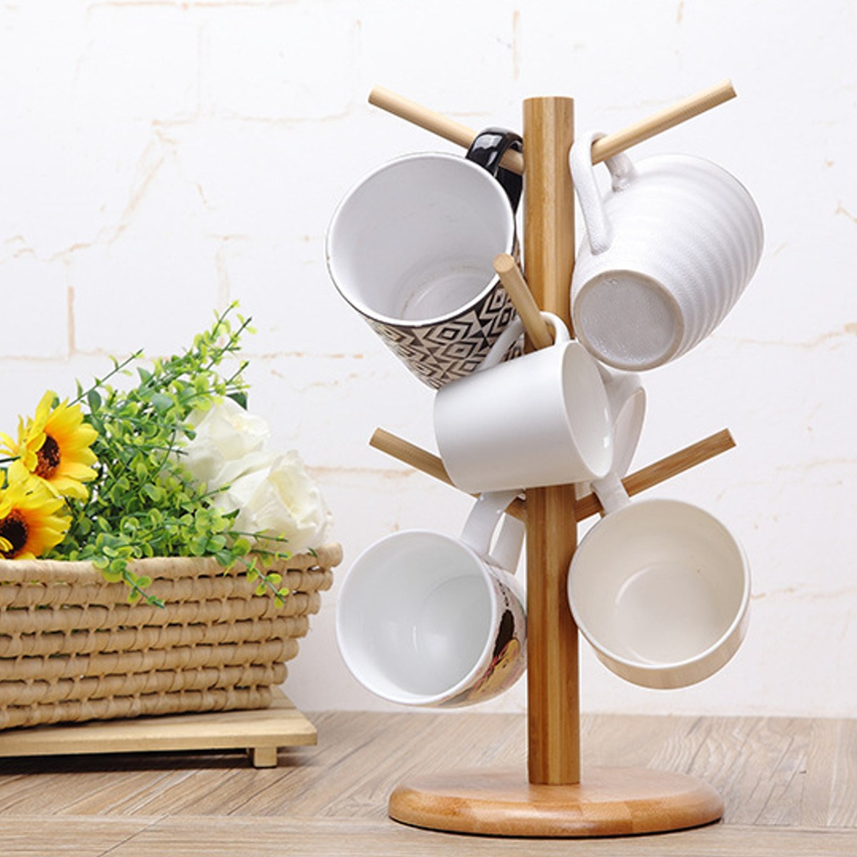 Wood Tree Shape Mug Coffee Cups Drying Storage Rack Holder Home