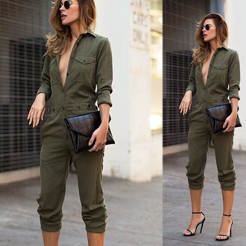 24b00afb12eb New Women Jumpsuit Celeb Sexy V Neck Army Green Button Party Playsuit Long  Sleeve Jumpsuit Casual