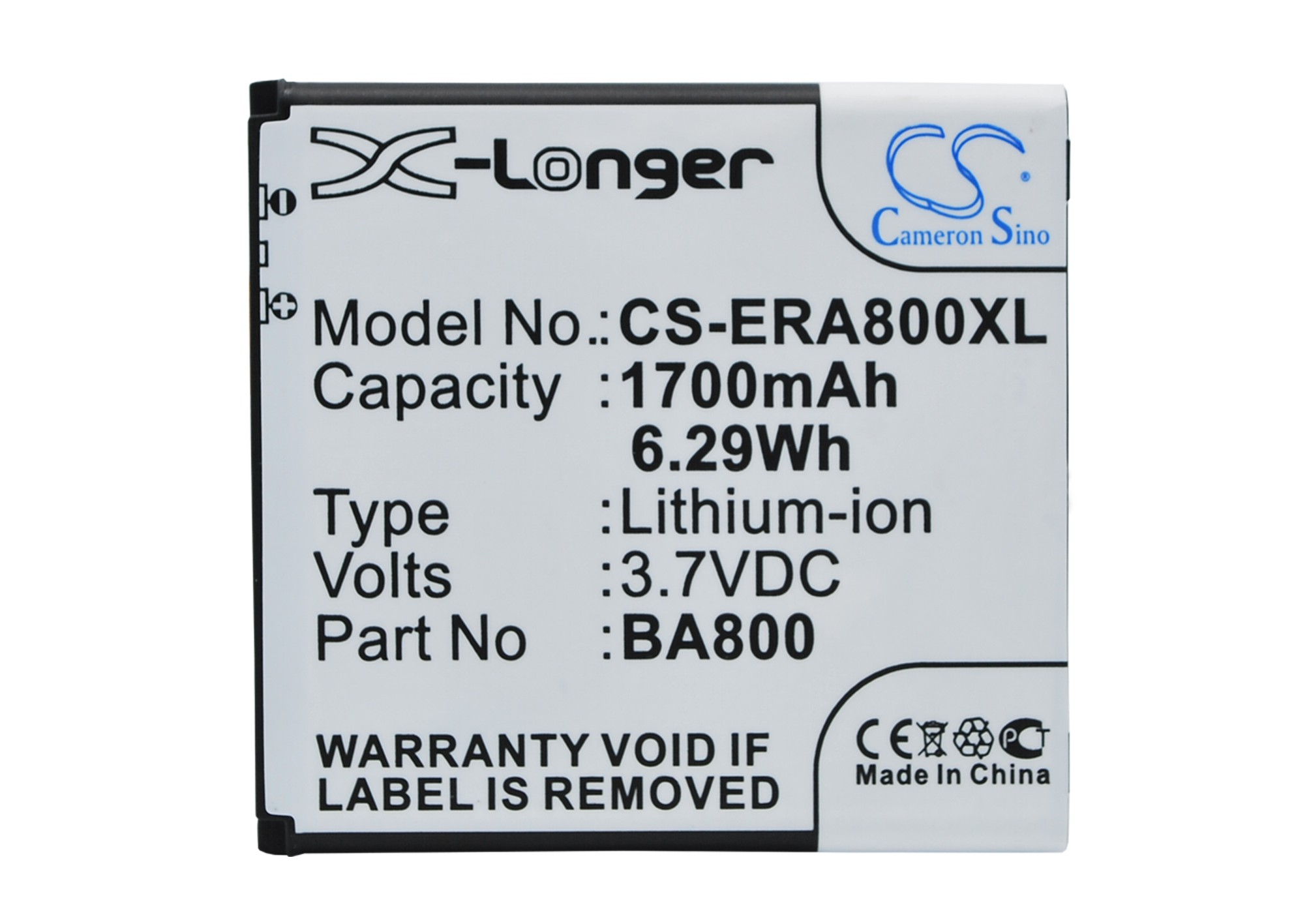 Cameron Sino 1700 mAh BA800 Bateria para Sony Ericsson Arc HD, Hikari, LT25C, LT26i, Nozomi, SO-01E, Tsubasa Xin, Xperia Arc S, Xperia AX