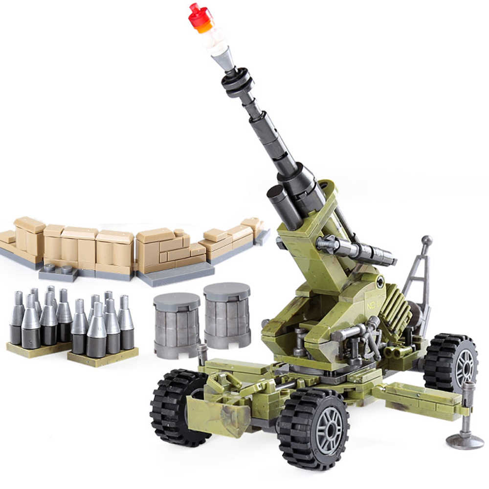 hot LegoINGlys military WW2 army Jungle war weapon Building Blocks Heavy Cindy Howitzers mini soldier figures bricks toys gift