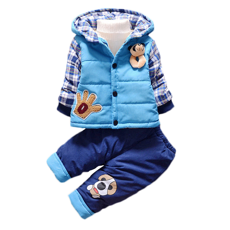 Boys Girls Clothes Set Winter Thick Warm Cotton Padded Coat Clothes Plus velvet Hoodie + Pants Kids Infant Sport Suits W110 toddler girls hello kitty clothes set winter thick warm clothes plus velvet coat pants rabbi kids infant sport suits w133