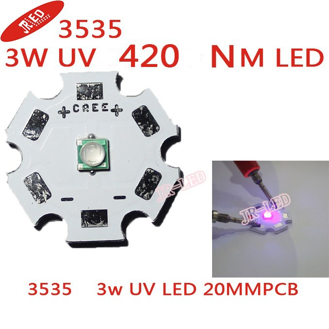 10pcs 3535 SMD 3W UV / UltraViolet LED močni žarek 420nm 395nm 400nm UV vijolična svetloba z 20 mm zvezdo Shoot the wick
