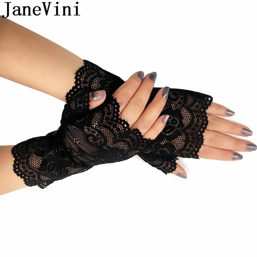 JaneVini Elegant Bridal Party Fingerless Wedding Gloves White Khaki Black Lace Gloves Brides Women Short Wrist Glove Gant Mariee