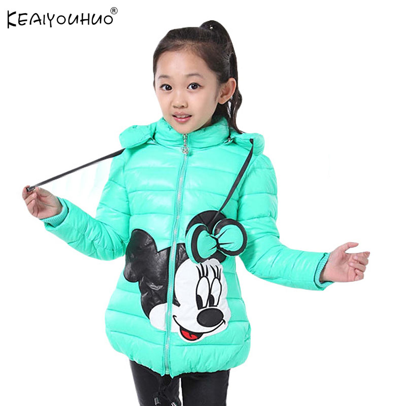 2018 Winter Girls Jacket Cartoon Minnie Coat Cotton-Padded Girls Clothes Children's Clothing For Girls Costume For kids Clothing цена 2017