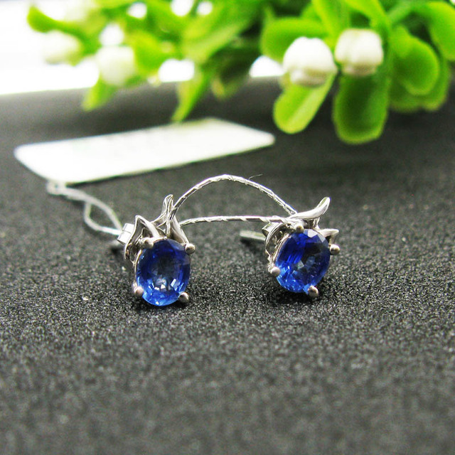 43ed79406 LANZYO 18K White gold sapphire Stud Earrings natural fine jewelry fashion  gift trendy to send his