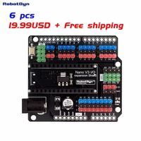 6PCS FREE SHIPPING WITH TRACKING Nano I O Expansion Shield For Arduino Nano V3 Pinout Assembled