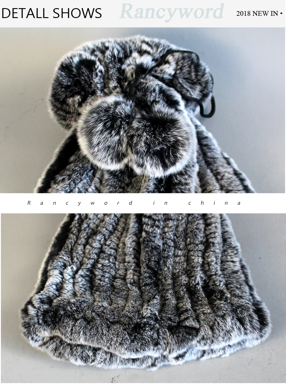 Womens Winter Hats Scarf Knitted Real Rabbit Fur Hat Natural fur Neck Scarf Girls Winter Warm Hat Beanies (5)