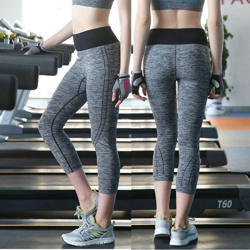 Calf Length Elastic Compression Compact Slim Fitting Sexy Lulu Women's Yoga Pants Girl Lady Quick Dry Workout Leggings Trousers