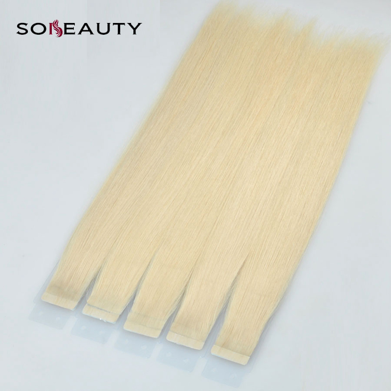 Sobeauty Tape In Human Hair Extensions Straight Color 613# 14''16''18''20'' Peruvian Remy Hair Double Drawn Hair Skin Weft