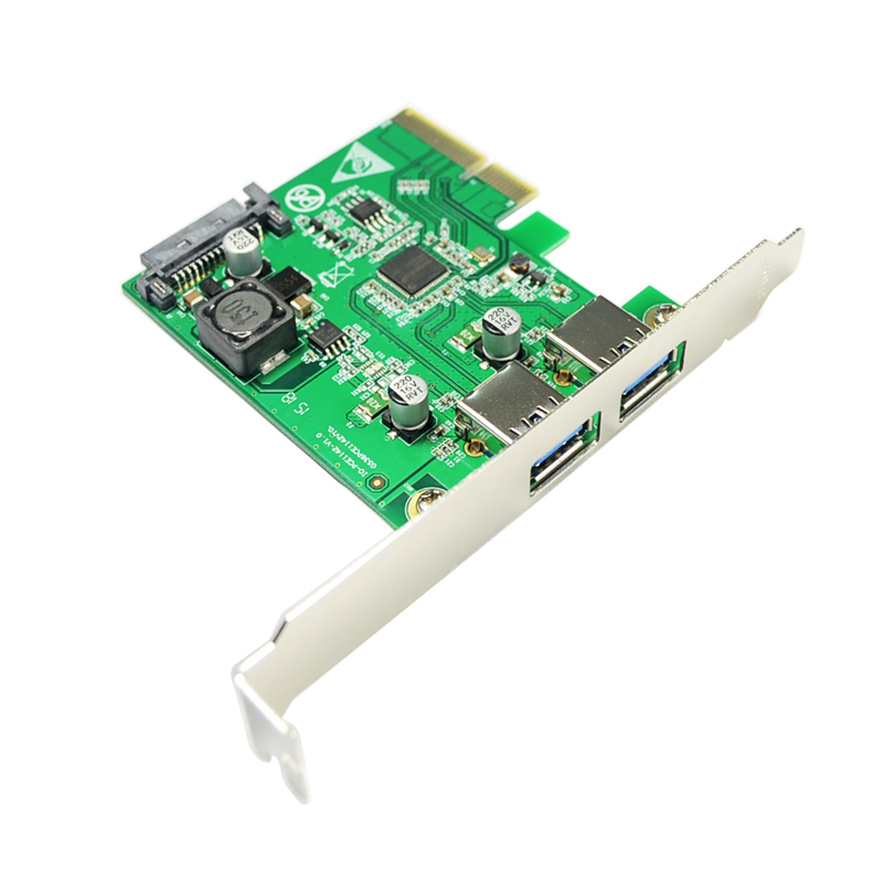 все цены на  Desktop PCI Express x4 to Dual USB3.1 Type A port Converter  2 ports USB 3.1 Type-A PCI-e Controller Card SATA power Supply  онлайн