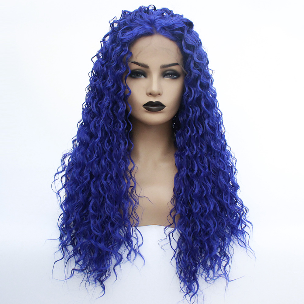 Synthetic Lace Front Blue Wig Glueless Loose Curly Heat Resistant Fiber Middle Part Cosplay Wigs for