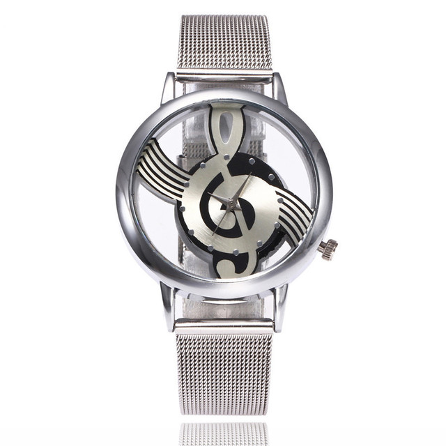 2017 New Brand Fashion Hollow Music Note Notation Watch Stainless Steel Quartz W