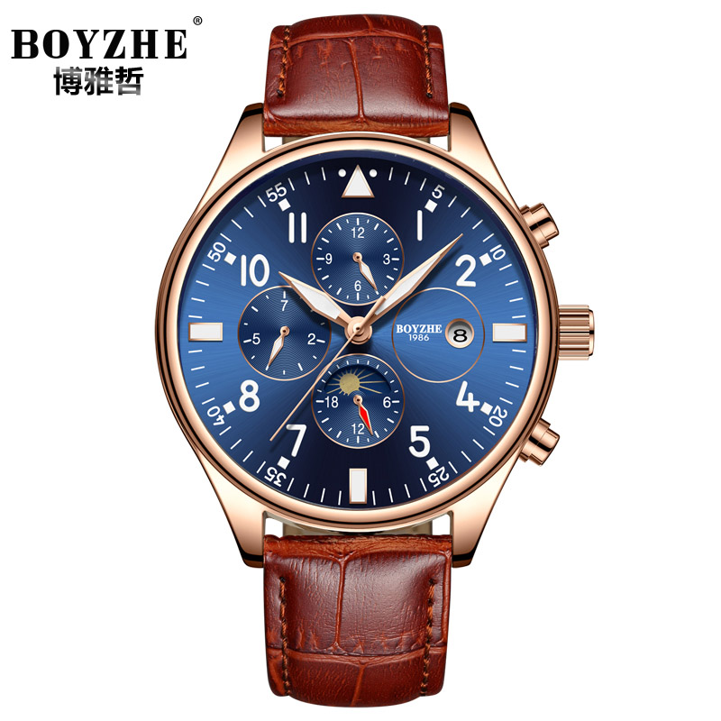 Business Mechanical Watch Men Automatic Classic Rose Gold Leather Mechanical Wrist Watches Luminous Male Clock Reloj Hombre 2018 soft leather mens mechanical wrist watch dragon pattern laser engraving carving gold black business men male hand wind watches