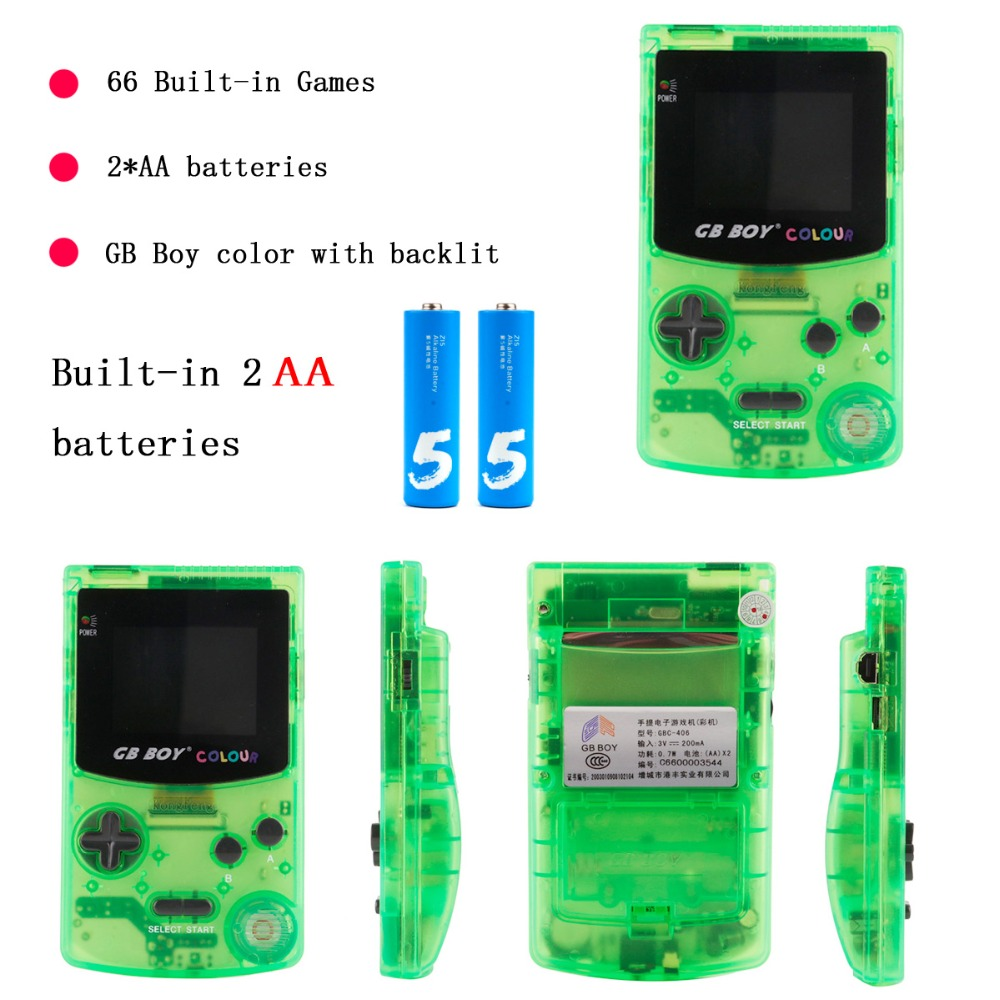 GB Boy Colour Color Handheld Game Player 2.7 Portable Classic Game Console Consoles With Backlit 66 Built in Games tetris-in Handheld Game Players from Consumer Electronics    1