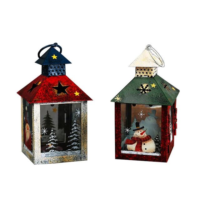 European Iron Home Decor Candle Holders Christmas Snowman Pattern Metal  Candle Lantern Creative Christmas Decoration Candelabra