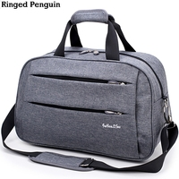 Ringed Penguin Men Travel Bags Weekend Carry On Luggage Bags Men Duffel Bags Luggage Overnight Gray