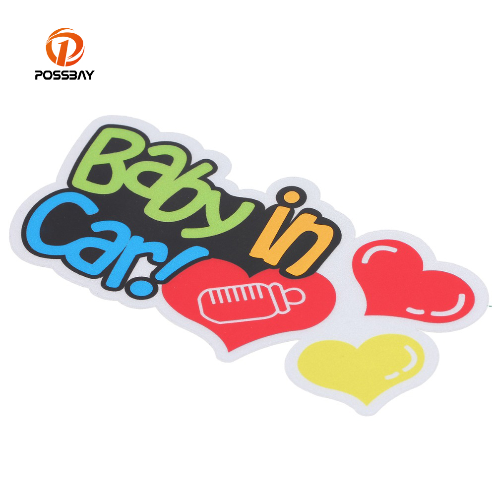 POSSBAY Reflective  Baby In Car  Car Back Front Side Sticker Safety Sign Car Window Door ...