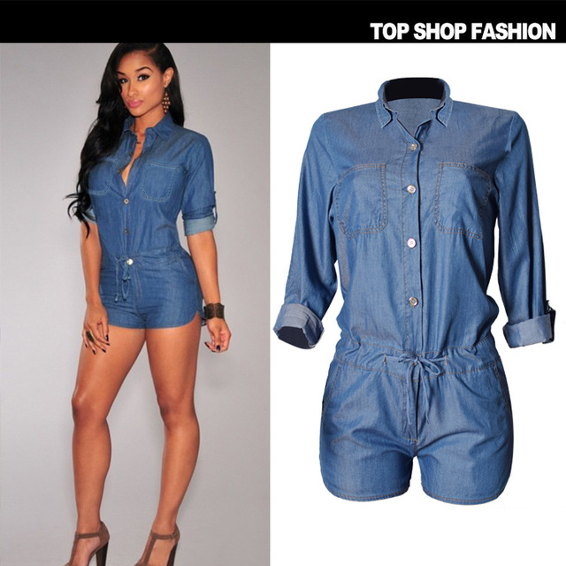 9509ffca5a7 Fashion Overalls Women High Quality Combinaison Short Femme Tencel  Jumpsuits Hot Jeans Women Rompers Push Up