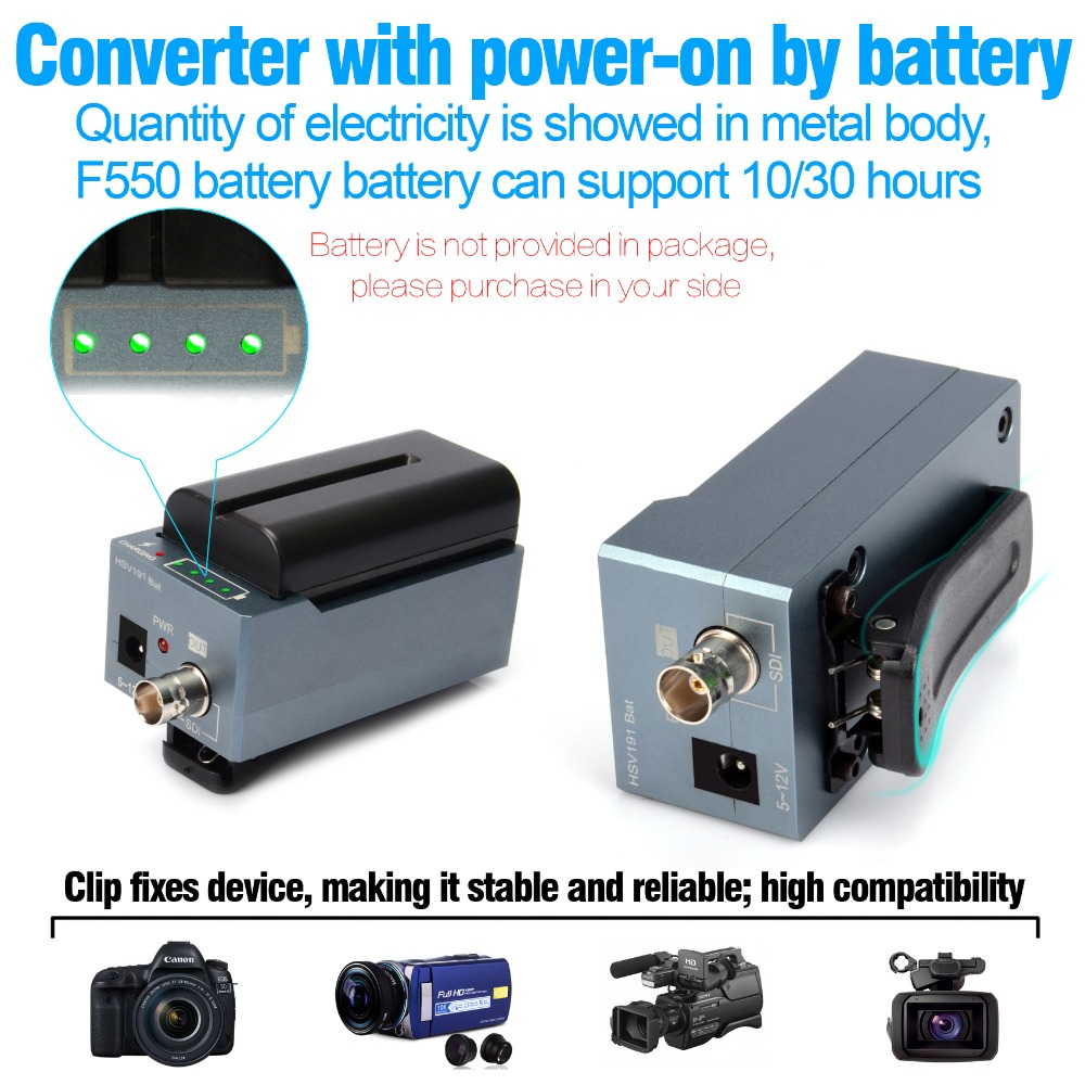 HSV191Bat HDMI to SDI Converter with Battery Charging 1080p Mini HDMI to SD SDI HD SDI