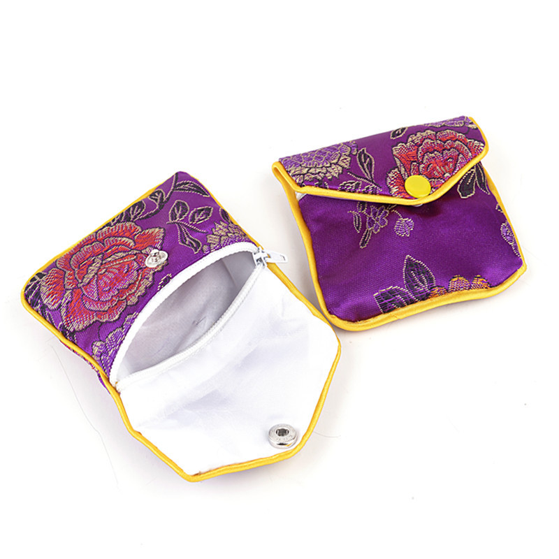 Well-known Floral Cloth Cute Coin Purse Zip Bags Small Chinese Silk Gift Bag  XW61