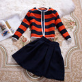free shipping crop top and skirt set 2016 new autumn and winter fashion striped dress suit 2 piece set women clothes set