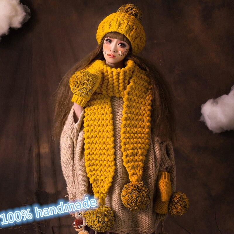 BomHCS  Scarf & Gloves & Beanie Lovely Women Girl Winter Warm Knit Crochet Handmade Hat Caps Gift