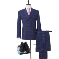 NA59 Double Breasted Blue Slim Fit Customized Size Mens Suit Wedding Thick Wool Material Christmas Gift
