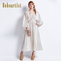 High Quality Fashion Designer Runway Maxi Dress Women S Batwing Sleeve Bohemia Boho Beach Printing V