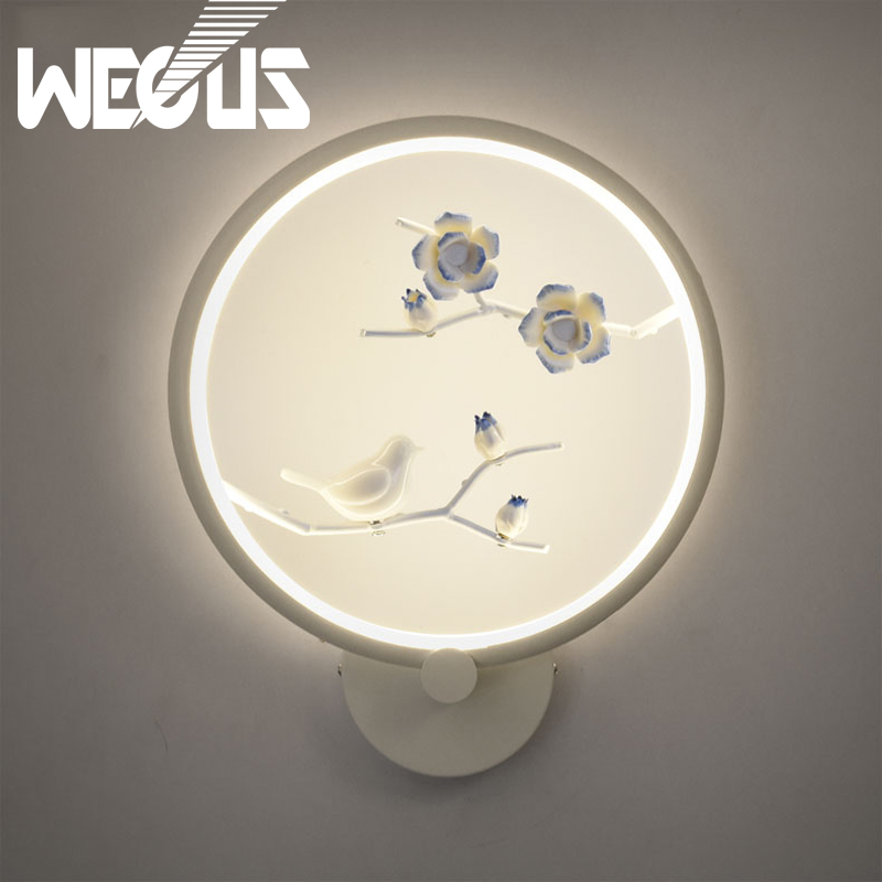 Wecus chinese wall lights style that used to bed head creative living room aisle stairs Zen bird wall hanging decorative lamps