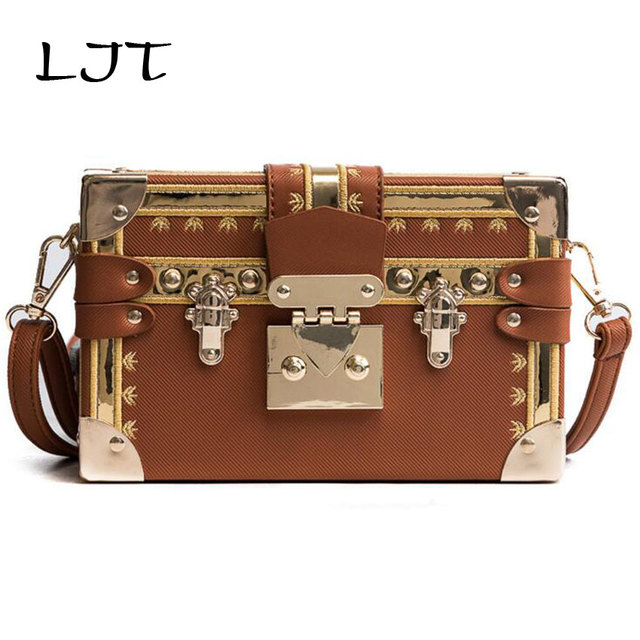LJT 2019 New Women Box Bag PU Embroidery Fashion Women Shoulder Handbags Crossbody Bags Evening Bags Box Clutch bolsa feminina