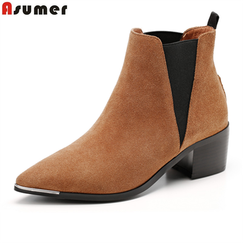 ФОТО ASUMER new listed high quality suded women ankle boots hot fashion pointed toe hoof high heels autumn winter boots