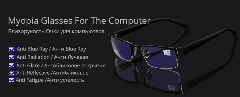 cd043163bd HTB1UZOvmH1YBuNjSszeq6yblFXag Metal Stainless Myopia Glasses Computer Men  Eyeglasses Half Frame Spectacles Anti Blue Ray Eyeglass -