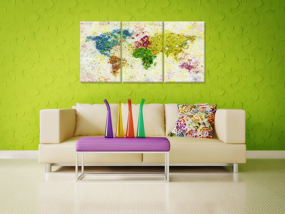 Canvas Wall Art Abstract Watercolor World Map Vintage Style The ...