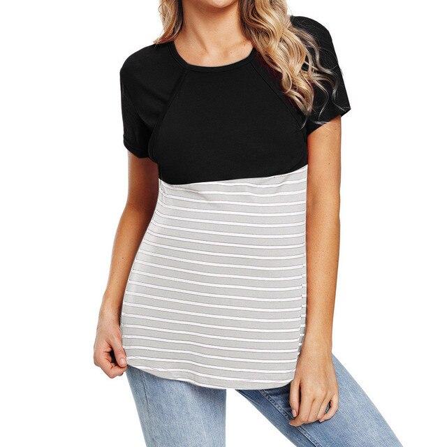 e9697648b 2019 Women Lace Splice Pregnant Nursing Baby For Maternity ropa lactancia  Pajamas Blouse Tops Shirt ropa mujer verano