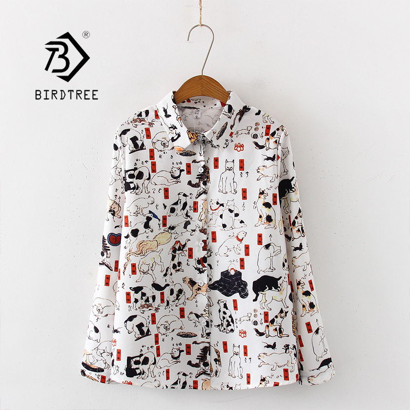 New Arrival Women Cartoon Cat Print Long Sleeve White Shirt Turn-Down Collar Chiffon Blouse Chic Top T97507F