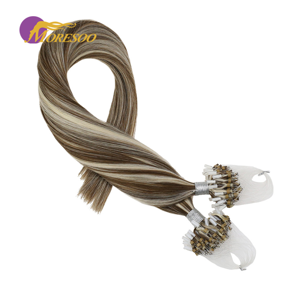Moresoo Micro Bead Loop Hair Extensions Piano Color Brown #9A Highlight With White Blonde #60 100 Real Remy Human Hair 50G/Pack