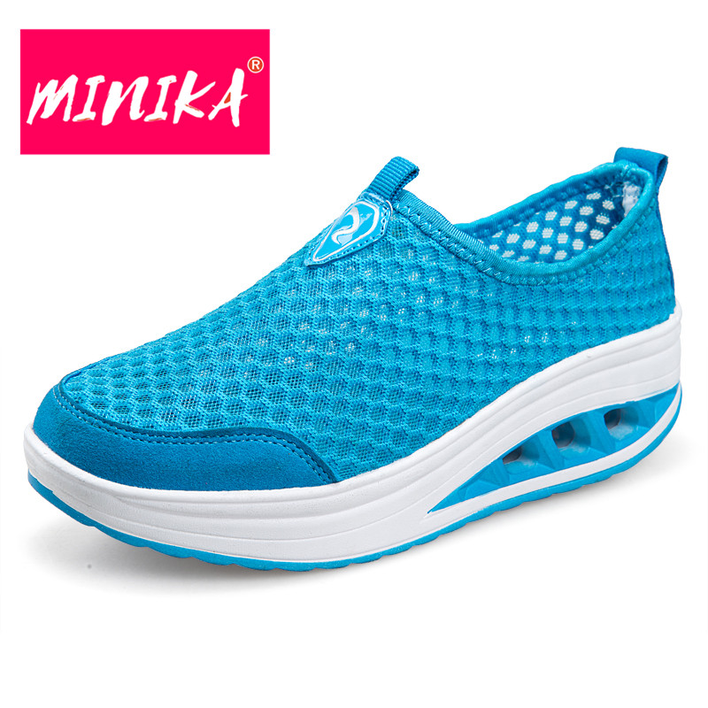 MINIKA Solid Colors Women Mesh Shoes Slip on Shallow Mouth Casual Flat Shoes Women Soft & Light Breathable Women Sneakers minika breathable mesh lace shoes women thick bottom shallow mouth women casual shoes slip on flat shoes women high quality