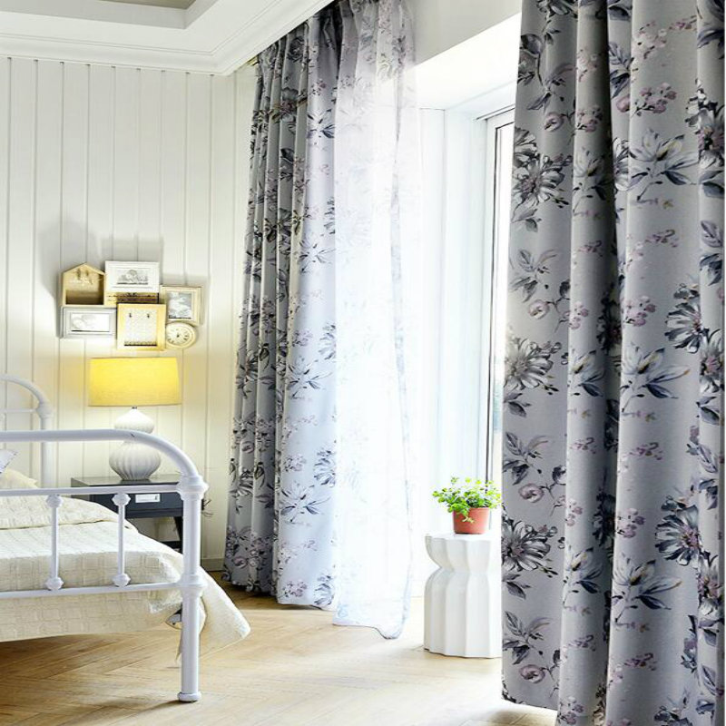 Modern Chinese garden printing curtains tulle bedroom bedroom living room shade curtains decorative full shade custom