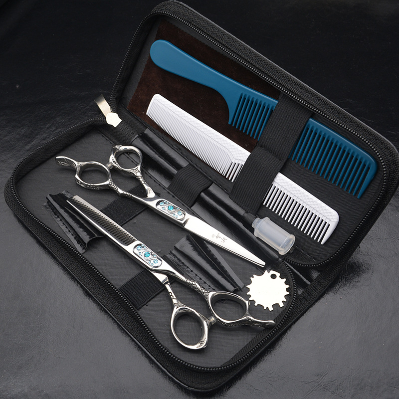 6inch New Style Thinning and Cutting Retro Sliver Hair Scissors Set Dragon Handle Hair shears Scissors for a Hairstyle Barber an scissors 6 inch professional hair cutting scissors hairdressing salon barber shears dragon shaped handle