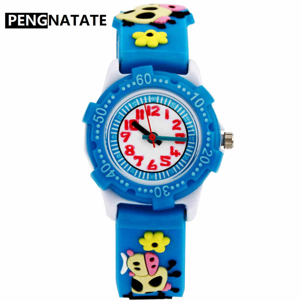 PENGNATATE Children Silicone Watch Girls Cute Strap 3D Cartoon Cow Bracelet Wristwatches Fashion Students Kids Watches Boys Gift