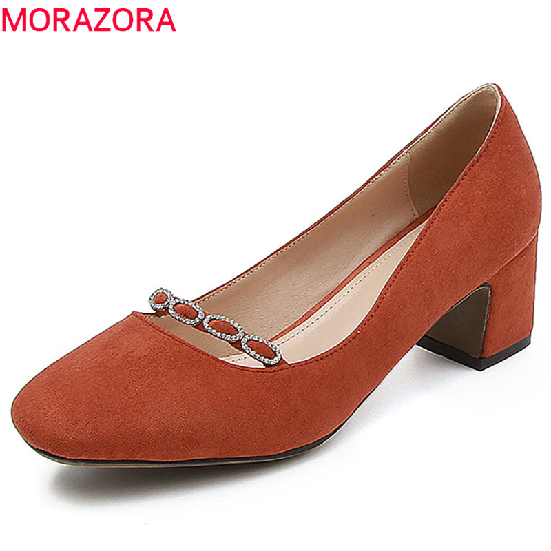 MORAZORA 2018 top quality flock women pumps simple summer shoes big size 33-43 elegant red party wedding shoes high heel shoes romyed bridals wedding shoes kim kardashian pumps superstar shoes top quality flowers evening christian shoes size 4 16 shofoo